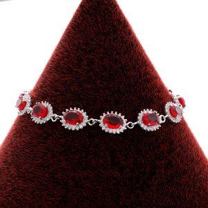 دستبند نقره طرح جواهر یاقوتی، روکش آبکاری طلا