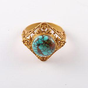 انگشتر فیروزه زنانه اصل، نقره روکش آبکاری طلا