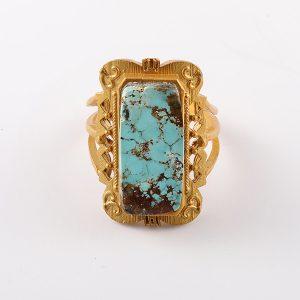 انگشتر نقره با سنگ فیروزه، روکش آبکاری طلا