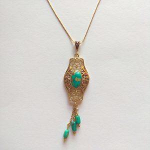 گردنبند نقره با سنگ فیروزه، روکش آبکاری طلا