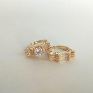 حلقه پشت حلقه نقره، روکش آبکاری طلا