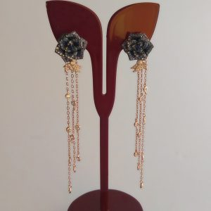 گوشواره نقره آویز طرح گل، روکش آبکاری طلا