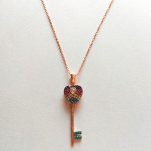 گردنبند نقره طرح کلید رنگی، روکش آبکاری طلا