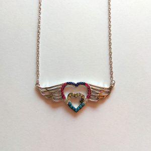 گردنبند نقره طرح قلب رنگی، روکش آبکاری طلا