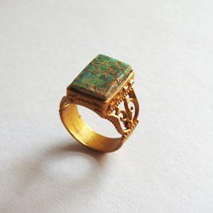 انگشتر فیروزه زنانه اصل، نقره روکش طلا