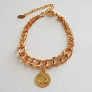 دستبند کارتیر طرح سکه استیل، طلایی رنگ