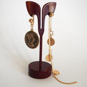 گوشواره سکه ای آویز، استیل طلایی رنگ